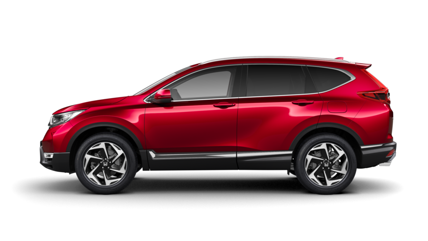 Honda CR-V i Premium Crystal Red Metallic, set fra siden.