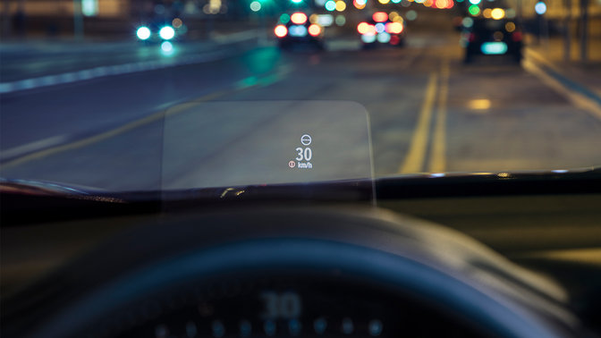 Nærbillede af Honda CR-V, head-up display.